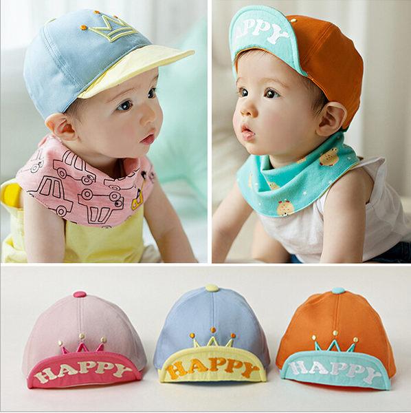皇冠小童寶寶鴨舌帽 棒球帽 防曬帽 遮陽帽 (帽前緣有軟鐵絲可上翻定型) 橘魔法 Baby magic 兒童