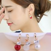 虧本促銷-日韓珍珠貓眼鋯石時尚飾品氣質百搭簡約長版新娘紅色耳釘正韓耳環