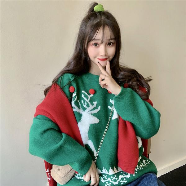 清倉388 韓國風甜美聖誕風麋鹿毛衣長袖上衣