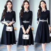 洋裝 8938#闊太太連身裙女新款中長款氣質顯瘦打底裙子秋冬HF303依佳衣
