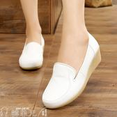 護士鞋 護士鞋女白色 牛筋底厚底楔形軟底單鞋小白鞋中跟透氣 韓菲兒