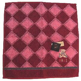 【波克貓哈日網】日系DAKS方巾毛巾◇ 28x28 cm◇《酒紅色菱格紋》