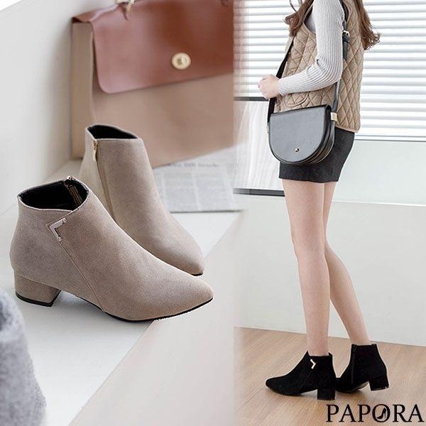 PAPROA絨面尖頭粗跟短靴KY7323黑/杏