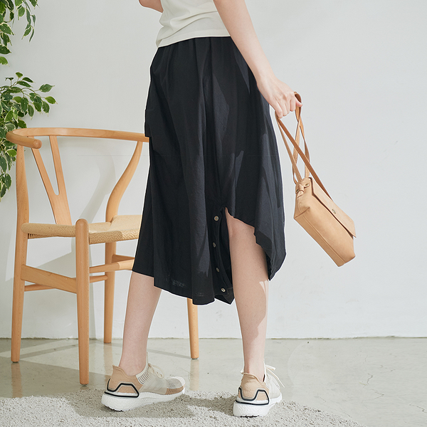 【慢。生活】設計師解構式棉麻長裙 3020 FREE黑色