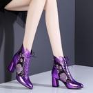 仙女風真軟皮涼靴女夏季新款中跟網紗粗跟性感媽媽鞋繡花系帶涼鞋 快速出貨