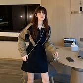 長袖洋裝 秋季韓版2021新款工裝風收腰顯瘦撞色拼接小個子長袖連身裙女裙子 韓國時尚 618