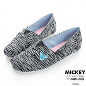 DISNEY 亮粉條紋 米奇飾釦亮蔥懶人鞋-黑(女)