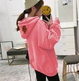 EASON SHOP(GU4503)雪花刺繡麋鹿角耳朵連帽圓領長袖T恤大學T女上衣素色韓版寬鬆加絨加厚刷毛口袋帽T