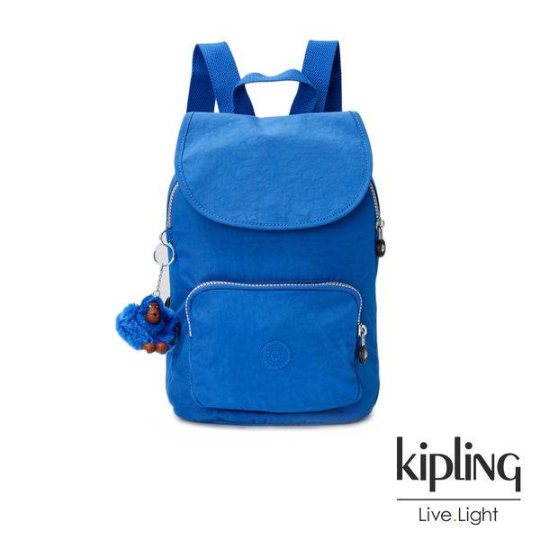 Kipling酷藍素面後背包(中)