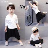 男童套裝男童春秋裝薄款棉麻漢服小寶寶個性潮衣服夏季唐裝兒童洋氣兩件套 米蘭