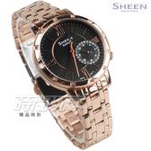 SHEEN SHE-3046PG-8A 羅馬時刻 施華洛世奇水晶 女錶 鑽錶 玫瑰金x黑 女錶 SHE-3046PG-8AUDR CASIO卡西歐