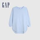 Gap女裝 簡約純色寬鬆式圓領長袖T恤 656452-純淨藍