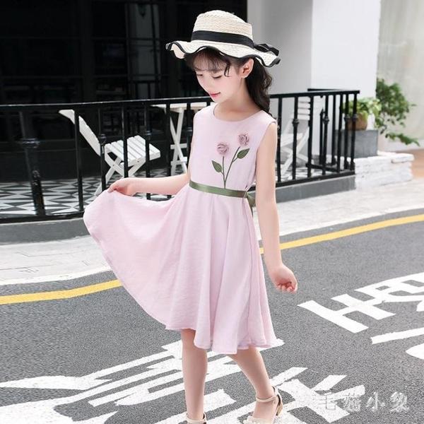 女童洋裝2020夏裝公主裙棉麻裙子新款洋氣中大童女孩夏款連身裙 LR23891『毛菇小象』