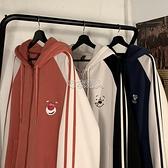 拉錬衛衣男士2021季新款潮牌寬鬆帥氣撞色拼接連帽開衫外套 快速出貨