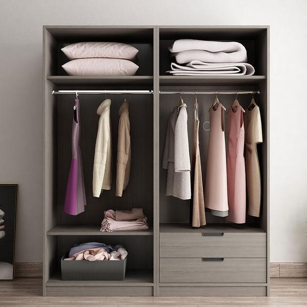 衣櫃 現代簡約對開玻璃門臥室衣帽間組合儲物櫃北歐經濟型組裝衣櫥