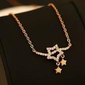 項鍊 玫瑰金純銀 鑲鑽吊墜-亮麗星形生日情人節禮物女飾品73bw9【時尚巴黎】