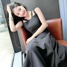 【免運】無袖洋裝女夏季裝設計修身復古雙吊帶中長款純色洋裝女中長裙