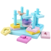 兒童木制玩具積木1-3歲寶寶幾何形狀配對認知套柱【免運】