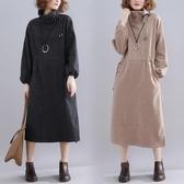 洋氣高領洋裝連身裙 復古純色胖mm顯瘦大尺碼高腰抽繩裙子潮 週年慶降價