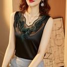 黑色蕾絲吊帶背心女外穿春夏寬鬆百搭打底西裝內搭無袖絲綢面上衣 快速出貨