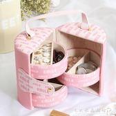 韓國圓形首飾盒收納盒公主絨布多層歐式首飾收納簡約耳釘盒戒指盒『CR水晶鞋坊』