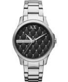 A│X Armani ExChange Lady 菱格紋晶鑽腕錶-黑 AX5226