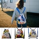 旅行塗鴉INS情侶抽繩束口後背包包帆布包 黛尼時尚精品