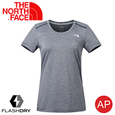 【The North Face 女 排汗短袖T恤《中灰》】3CHZ/FlashDry/吸濕排汗/運動衣/圓領/休閒衣