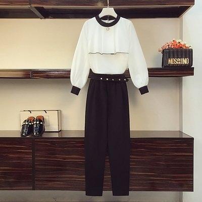 中大尺碼實拍大碼秋裝顯瘦減齡套裝氣質雪紡襯衫洋氣兩件套8175.4F082.依品國際