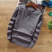 中國風男裝秋季亞麻料T恤中式復古上衣純棉麻布長袖純色t桖小衫潮「時尚彩虹屋」