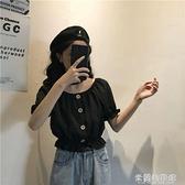 一字肩襯衫 夏季新款收腰顯瘦兩穿韓版短袖一字領可拉肩襯衫百搭上衣女潮 快速出貨