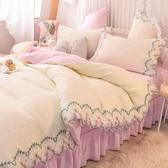 網紅款床上用品四件套公主風蕾絲被套床單三件套床裙款床笠水洗棉 滿天星