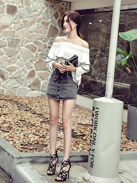 克妹Ke-Mei【ZT67127】 KOREA韓國東大門美踝摟空露指高跟鞋