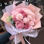 特賣母親節康乃馨玫瑰花束520生日禮物送女友仿真假花肥香皂花禮盒伊蘿精品