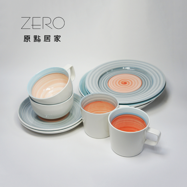 原點居家創意彩虹碗型陶瓷咖啡杯盤組 日韓風格 馬克杯盤 手繪陶瓷馬克杯盤(2色任選)