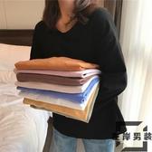 純色寬松長袖T恤女裝韓版上衣打底衫潮【左岸男裝】