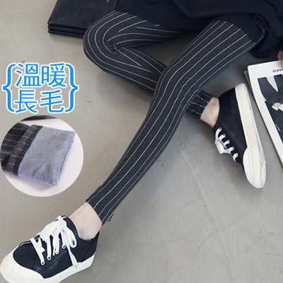 【愛天使孕婦裝】韓版(82286)鋪長毛 韓版直條紋內搭褲 孕婦褲(可調腰圍)