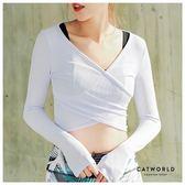 Catworld 交叉坑條短版瑜珈運動T【11500385】‧S/M/L