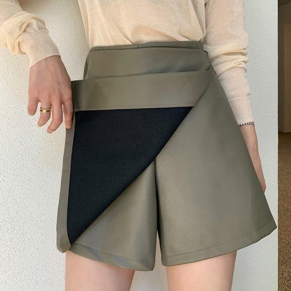 韓國製.街頭時尚百搭仿皮革一片式褲裙.白鳥麗子