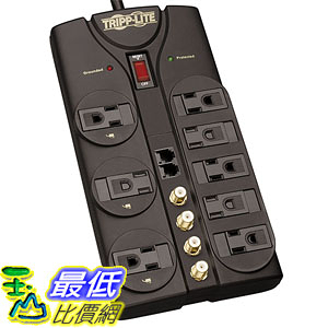 [美國直購] Tripp Lite TLP810SAT 濾波電源插座 8 Outlet Surge Protector Power Strip Tel/Modem/Coax 10ft