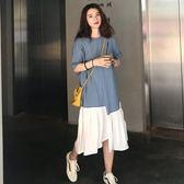 胖女人mm2019款夏裝遮肚顯瘦連身裙大碼女裝減齡適合胯大腿粗裙子 韓流時裳