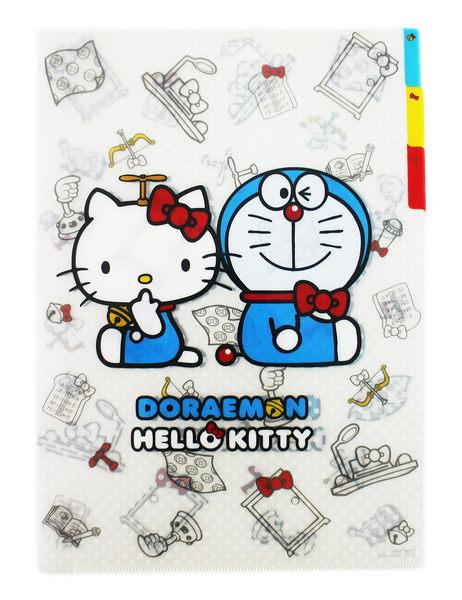 【卡漫城】  L字型 3層 資料夾 ㊣版 凱蒂貓 哆啦 A夢 聯名 Hello Kitty 小叮噹 文件夾 檔案夾 日本製