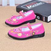 兒童純紅色小禮儀鞋舞蹈跳舞體操平跟女童黑布鞋老北京軟女單童鞋『新佰數位屋』
