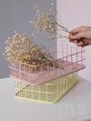 鐵藝收納筐北歐風創意鐵架子零食客廳桌面籃子床上置物框儲物盒