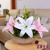 仿真盆栽 百合花裝飾花假花擺件裝飾品插花桌花盆栽套裝 BF7965【花貓女王】