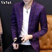 男士韓版修身西服男青年格子修身小西裝潮流上衣英倫男裝休閒外套
