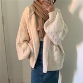 連帽針織開衫女秋冬裝寬鬆顯瘦慵懶風外穿加厚日系溫柔風毛衣外套 雅楓居