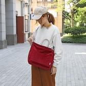 燈芯絨手提包-條紋純色復古大容量女側背包6色73xb47[巴黎精品]