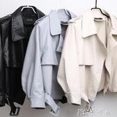 寬鬆翻領機車皮衣女 亮面質感pu皮甲克外套 韓版顯瘦YYJ 卡卡西
