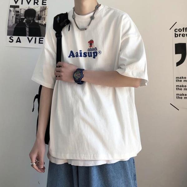 純棉t恤男士2021年夏季ins超火短袖打底衫韓版潮流網紅百搭上衣服